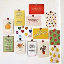 Tarjetas de decoración de felicitación feliz, Postales de arte, sonrisa y corazón, flores de fruta, pegatina de pared, utilería de fondo para fotografía, artículos de papelería para Decoración
