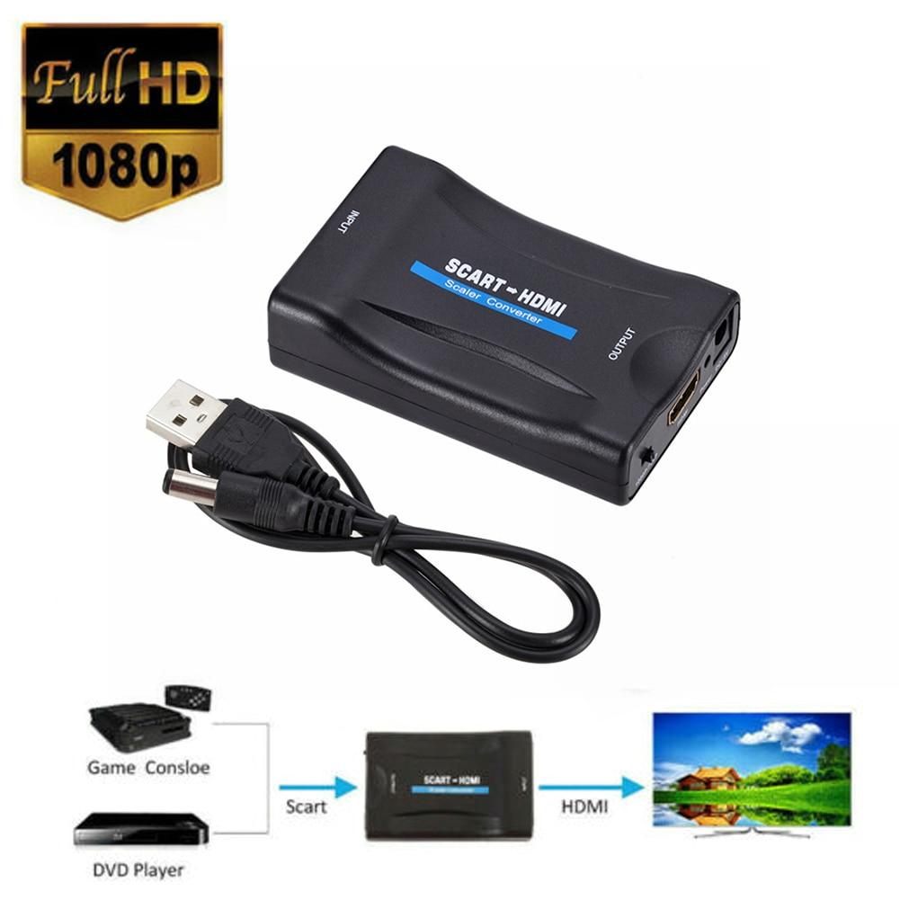 1080P SCART HDMI видео аудио преобразователь адаптер с USB-кабелем для HDTV Sky Box DVD ТВ сигнала высококлассный преобразователь