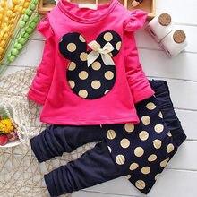 Kız setleri yeni bahar sonbahar çocuk giyim kız karikatür rahat Minnie seti t-shirt + pantolon bebek kıyafet çocuklar giysi takım elbise