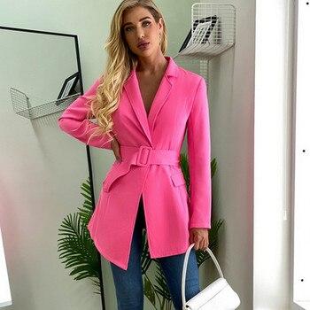 Elegant Womens Blazers Coat Belt Deep V Irregular Slim Suit Jacket Female Ladies Fashion Outerwear Small Blazer 2020 Autumn New
