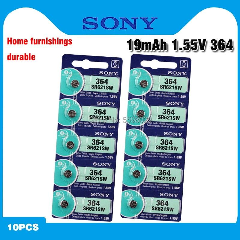 Оригинальный Sony 10 шт. SR621SW оксид серебра для часов 6,8 мм * 2,1 мм AG1 364 164 D364 L621 GP364 кнопочный элемент, монетные батареи
