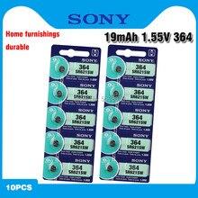Original sony 10 pces sr621sw óxido de prata para o relógio 6.8mm * 2.1mm ag1 364 164 d364 l621 gp364 botão pilha moedas baterias