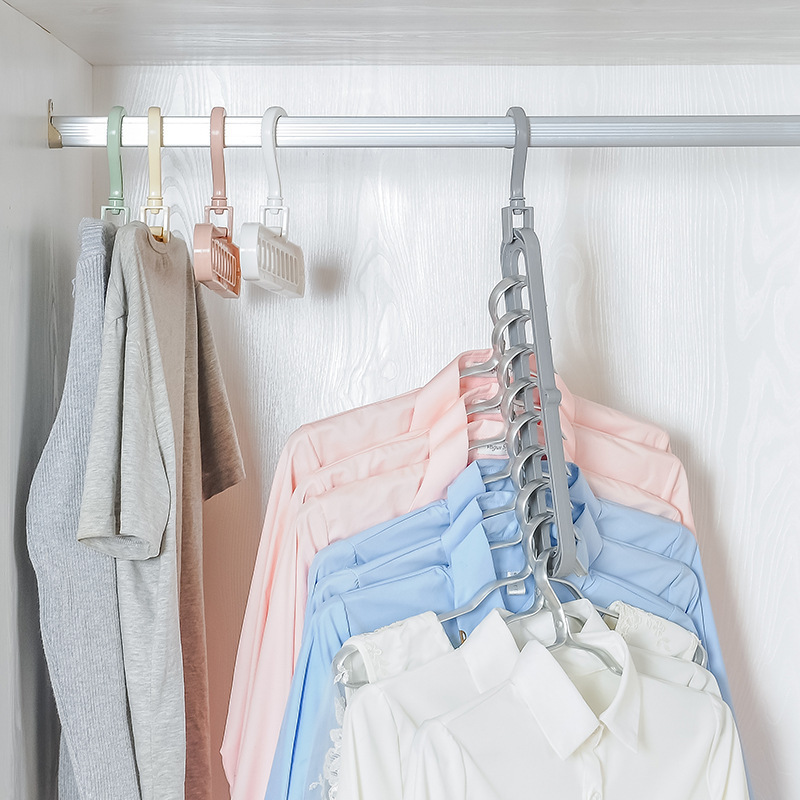 Multi-port Plastic Clothes Hangers Closet Organizer Hangers Support Circle Space Saving Clothes Rack