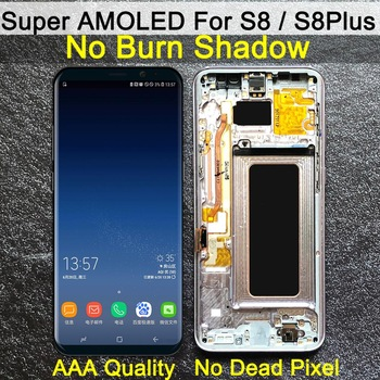 AAA ORIGINAL SUPER AMOLED S8 LCD with frame for SAMSUNG Galaxy S8 G950 G950F Display S8 Plus G955 G955F Touch Screen Digitizer 1