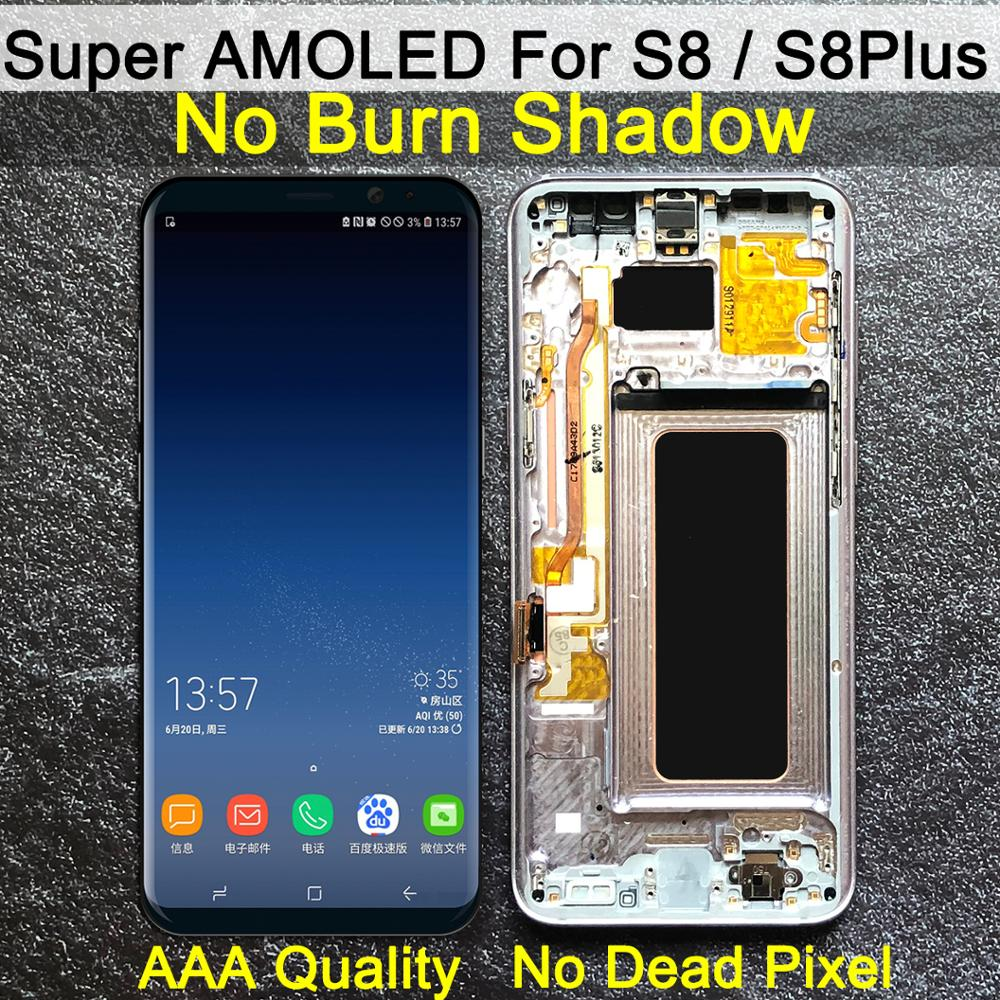AAA orijinal süper AMOLED S8 için çerçeve ile LCD SAMSUNG Galaxy S8 G950 G950F ekran S8 artı G955 G955F dokunmatik ekran digitizer