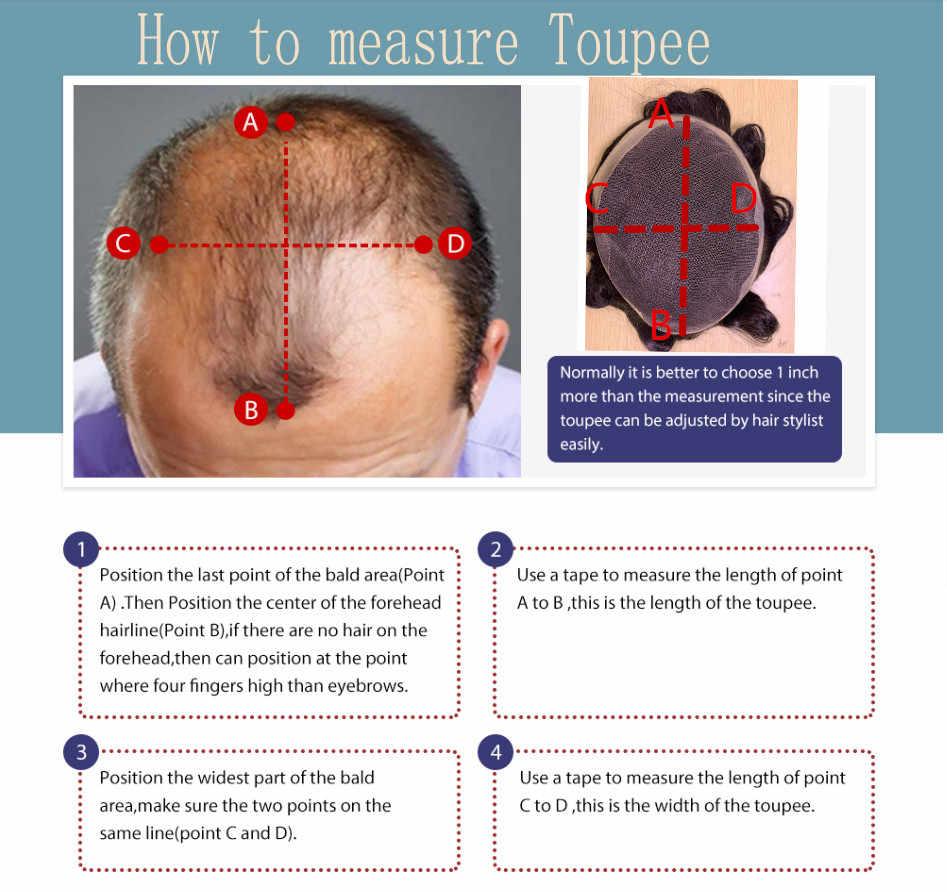 BYMC 7*10 erkek peruk düz % 100% Remy insan saçı dantel ince PU daire değiştirme sistemi Toupees Mail saç peruk