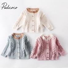 Коллекция года, осенне-зимняя одежда для малышей Вязаные Свитера для маленьких девочек теплое пальто с длинными рукавами однотонные топы, одежда От 3 месяцев до 3 лет