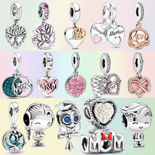 2021 Mothe'r Day 925 Sterling Silver Mom Beads Daughter Family Tree Dangle Charms fit Original pandora Bracelets Jewelry