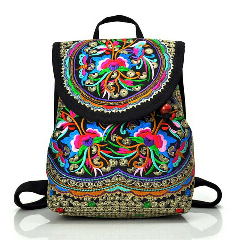 Vintage Floral Peony Embroidery Ethnic Canvas Backpack Women Handmade Travel Bags Schoolbag Backpacks Rucksack