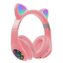 Cat Ear Bluetooth 5.0 inpods Headphones LED Flash Light Girls Kids Cute Headset gamer Support Card Wireless Headphones popstock(China)