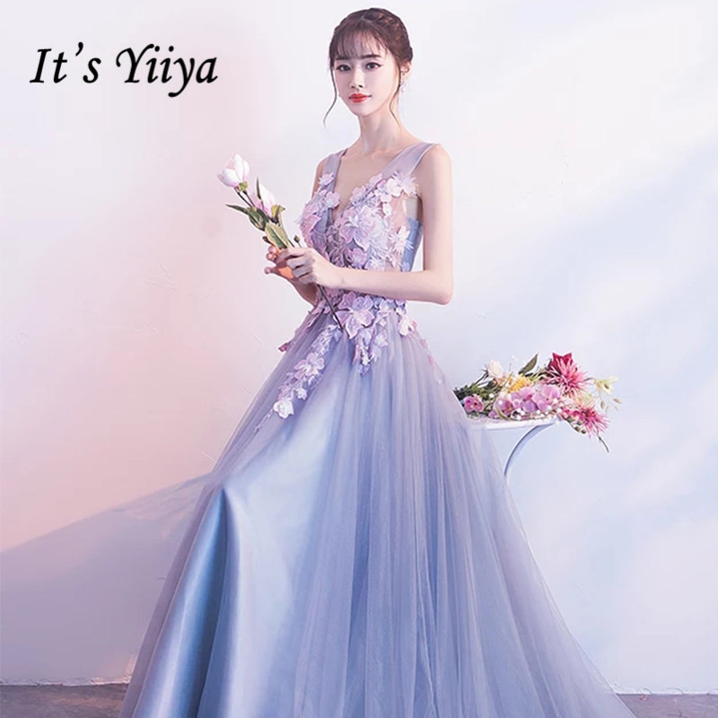 Evening Dresses It's Yiiya R209 Gray Luxury Appliques V-neck Formal Evening Gown 2020 A-Line Crepe Backless Long Robe De Soiree