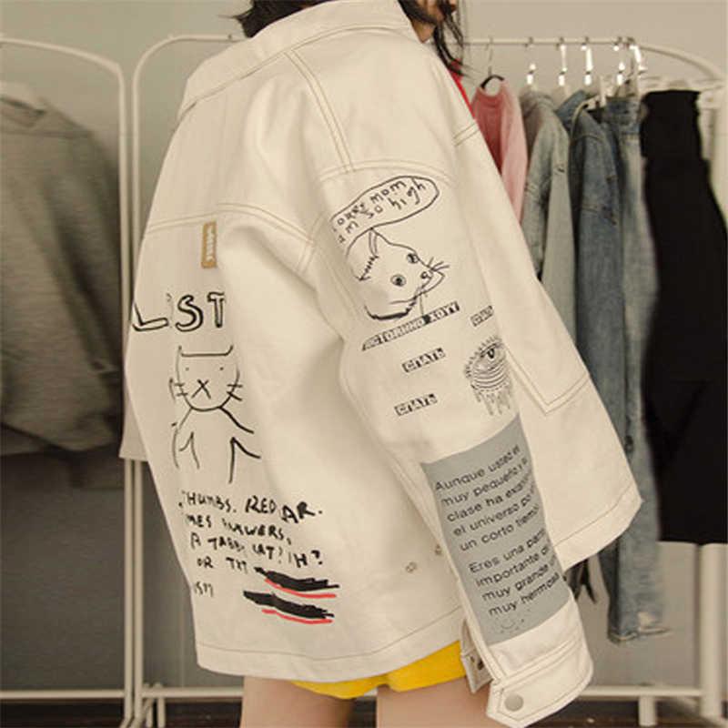 Джинсовые куртки Merry Pretty Wome, белые Базовые Куртки с принтом кота из мультфильма, зимняя верхняя одежда с длинными рукавами и отложным воротником 2020