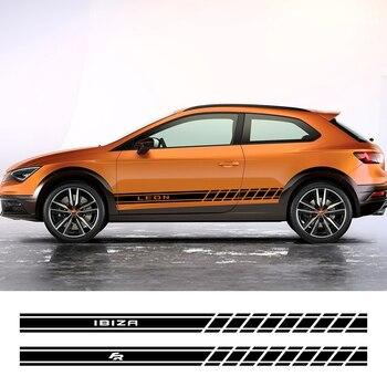 2 uds, faldón lateral para puerta de coche, pegatinas de rayas largas para Seat Leon MK3 MK2 Ibiza 6J 6L FR Ateca Arona, decoración de carrocería, accesorios para coche