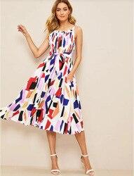 Amazon Новые продукты Горячая продажа 2019 Весна и лето мода принт сетки кружева карман платье