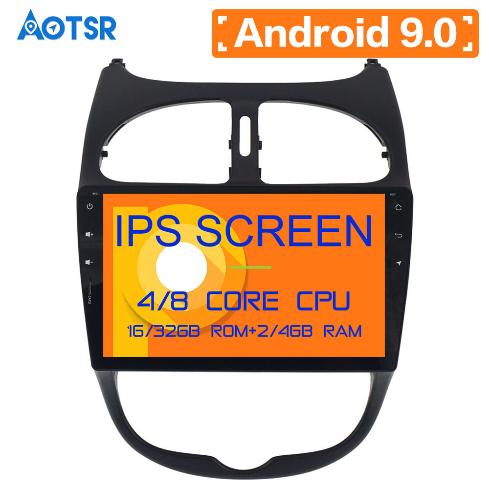 Aotsr HD 1024X600 1 <font><b>din</b></font> 9inch 4 Core Android 9.0 Car DVD Player for <font><b>Peugeot</b></font> <font><b>206</b></font> Auto GPS Navigation Radio Multimedia CAR BT WIFI image