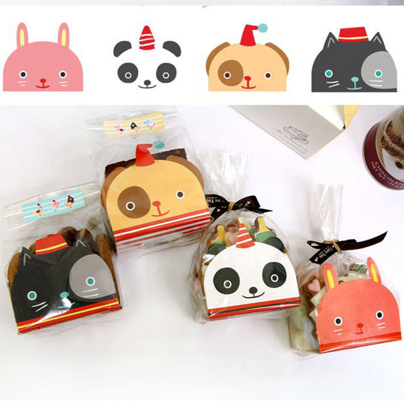 50 stücke Kunststoff Keks Süßigkeiten Cookie Tasche Backen Packs Nette Hund Katze Muster Verpackung für Cookies Geburtstag Weihnachten Geschenk Tasche