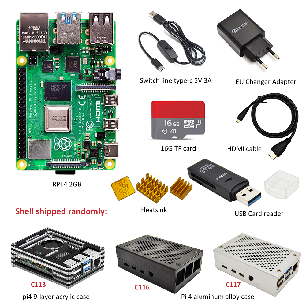 Raspberry Pi 4 B 2GB/4GB Kit 3 Kinds Of Case + EU Power Adapter + Switch Line + 16GB / 32GB TF Card + USB Card Reader+HDMI Cable