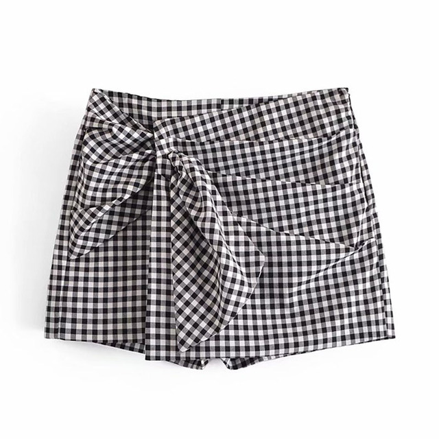 Women 2021 Summer Plaid Shorts Pleated Sashes Bow Tie ZA Fashion Female Street Sweet Shorts Bottons Clothing 2