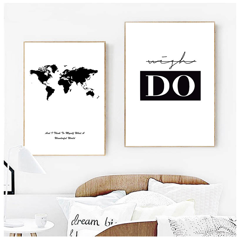 Minimalistic Phrase And World Map A4 Canvas Painting Prints Art Wall Pictures Living Room Posters Bedroom Decoration Home Murals
