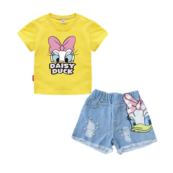 Girls Outfits Clothes Sets Children Cartoon Duck Summer T Shirt Sequins Broken Hole Denim Shorts Suit Baby Girls Clothing Set 1