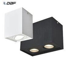 [Dbf] superfície quadrada montada downlight led com substituível gu10 lâmpada led 5w 7w 10 14w conduziu a luz do ponto de teto AC85V 265V indoor