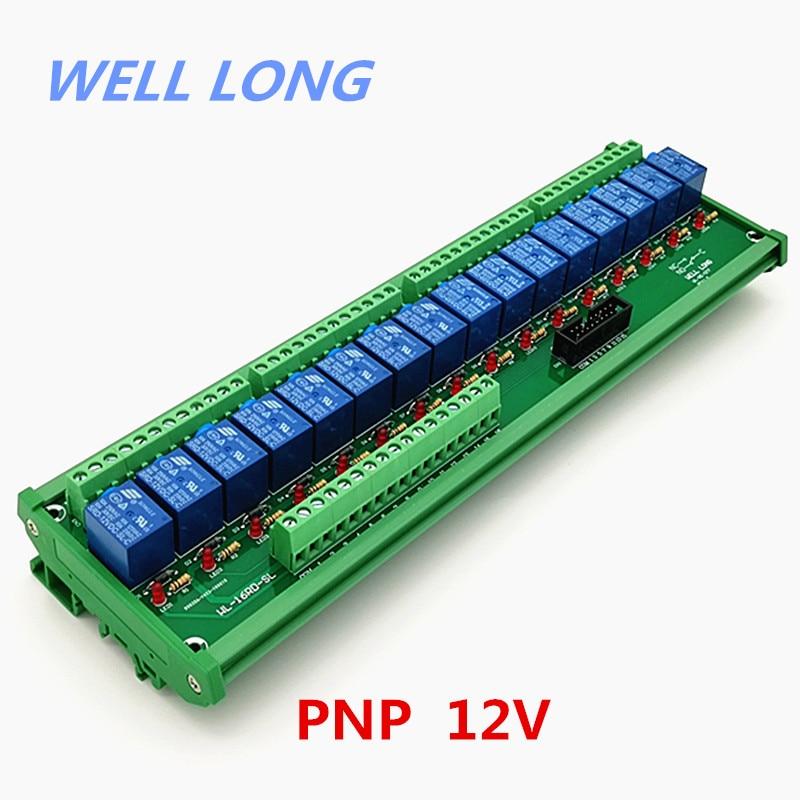 DIN Rail Mount 16 Channel PNP Type 12V 10A Power Relay Interface Module,SONGLE SRD 12VDC SL C Relay.