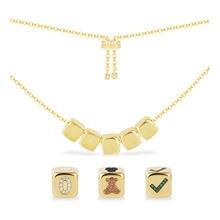 [Diyネックレス] diy女性のファッションユニークなイエローゴールド色ジルコン頭文字数字記号サイコロ調節可能なネックレス