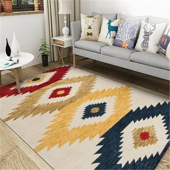Living Room Morocco Style Rugs and Carpets Nordic Abstract Ink Gold Landscape Painting Carpet Anti-wrinkle Floor Mats