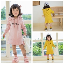 2019 Girls Dress Autumn Winter Long Sleeve Hoodie Thicker Warm Letter Dresses for 1-7Y Children\s Clothing Kids Clothes