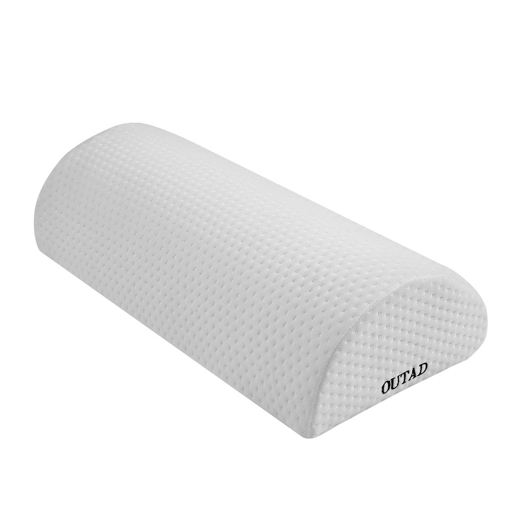 OUTAD Comfortable Back Pain Relief Halfmoon Bolster With Memory Foam Semi-Roll Pillow Washable Removable Organic Cotton Cover