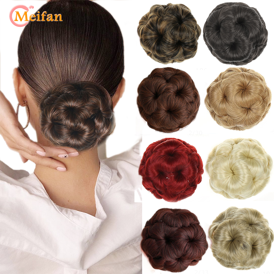 MEIFAN Women Chignon Donut Clip in ponytail Extensions Nine Flowers Hair Bun High Temperature Fiber Synthetic Hair Bun Chignon