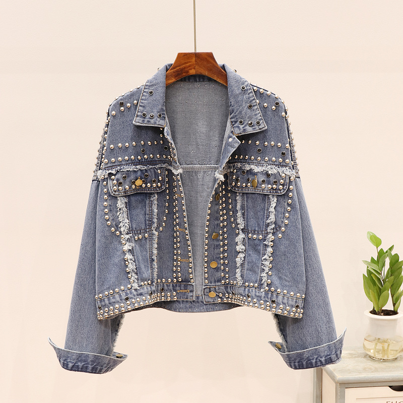 2020 printemps Punk Rock jean veste femmes de luxe décontracté mode Rivet bavure à manches longues boutons bleu mince court Denim veste manteaux