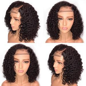 14 zoll Lockige Spitze Front Menschliches Haar Perücken Mit Welligkeit Locken Haar Brasilianische Haar Kurze Lockige Bob Perücken Für Frauen pre-Gezupft Perücke