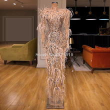 Haute Couture Bling Mermaid Evening Dress Floor Length Sequins Feather Prom Dress вечернее платье Middle East Saudi Arabia Dubai