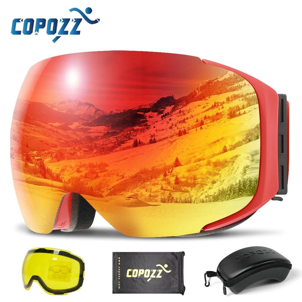 Магнитные лыжные очки COPOZZ, очки для катания на лыжах и сноуборде, антизапотевающие с быстросменной линзой и футляром, со 100% защитой от УФ-лучей, мужские и женские