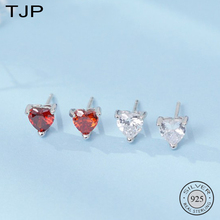 TJP S925 Silver Jewelry Korean All-match Inlay Earrings Small Red Heart Zircon