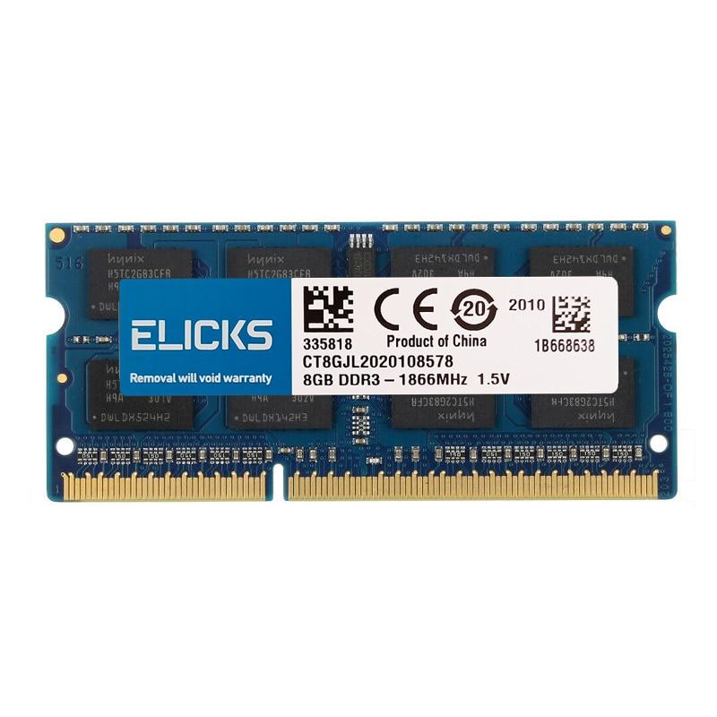 Elicks DDR3 RAM 2GB 4GB 8GB 1066 1333 1600 10600 12800 1866MHZ General notebook memory standard voltage 1.5V low voltage 1.35V
