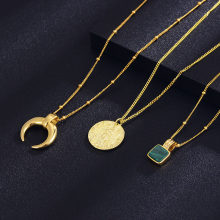 Shineland High Quality Statement Gold Horn Moon Necklace for Women Virgin Mary Pendant Trendy Chain Charm Jewelry Wedding Gift(China)