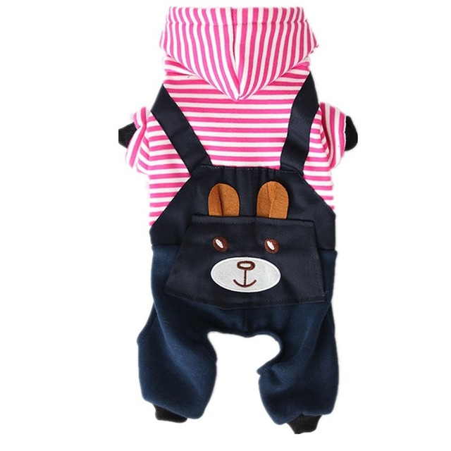 Ropa de Perro a rayas a la moda de PUOUPUOU para perros, Abrigo con capucha, sudadera de invierno, Ropa para perros, Ropa para mascotas de dibujos animados 4
