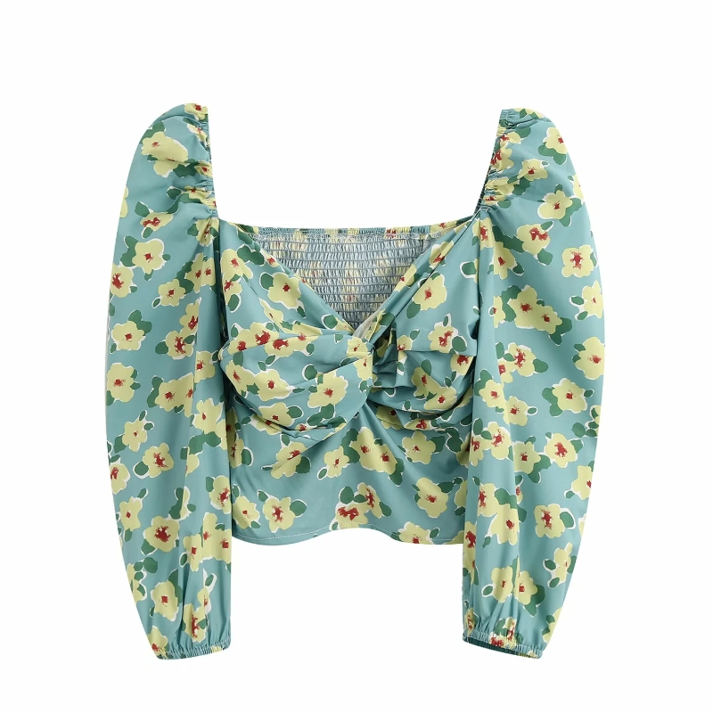 New 2020 Women Sweet Knotted V Neck Flower Print Slim Smock Blouse Chic Ladies Puff Sleeve Shirts Side Zipper Blusas Tops LS6571