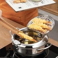 Marmite de cuisine Thermometre Tempura friteuse casserole ustensiles de cuisine outils frits contrôle de la température Pot de poulet 4