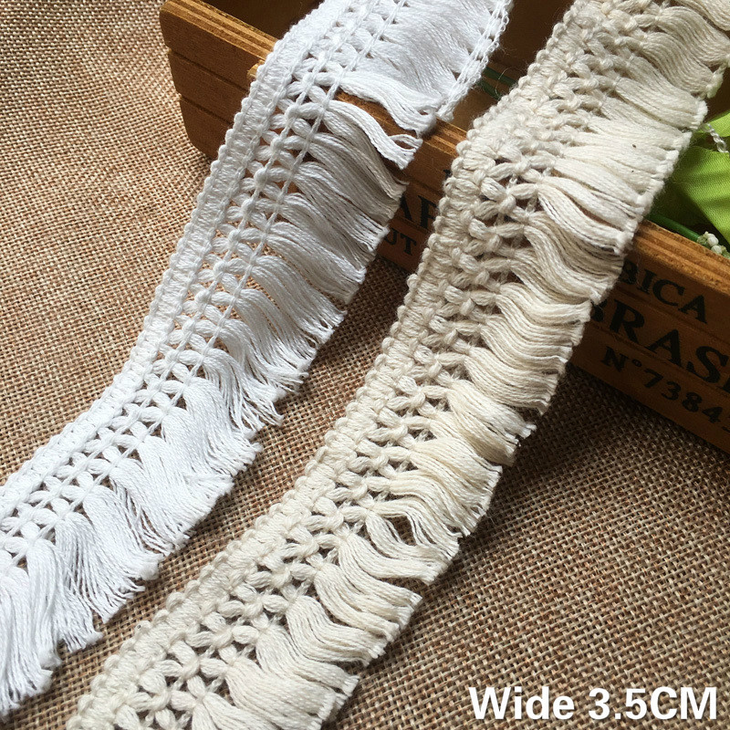 3.5CM Wide White Beige Cotton Thread 3D Lace Fabric Weaved Ribbon Tassel DIY Material Curtains Garment Accessories Decoration