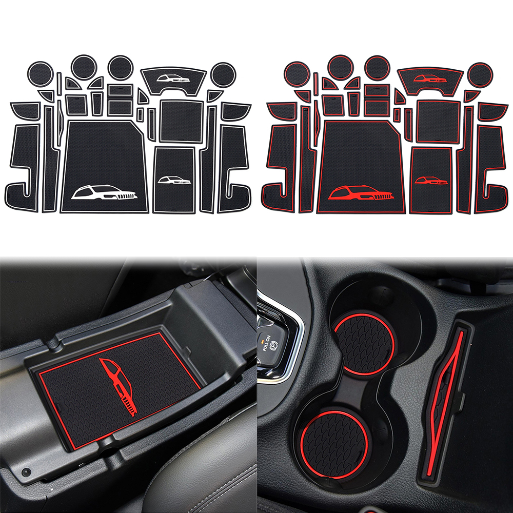 Car Front Back Door Slot Pad Mat Cup Holders Trim Mats for Jeep Cherokee 2014-2019 Armrest Storage Box Pad Interior Accessories image