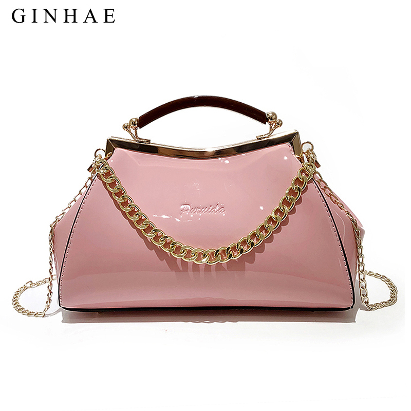 2018 Famous Brand Designer Women Colorful Handbags Luxury Patent Leather Pillow Tote Bags Small Chian Crossbody Bags For Girls