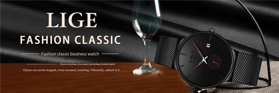 LIGE, модные часы, повседневные, водонепроницаемые, кварцевые, мужские часы, лучший бренд, Роскошные, ультра-тонкие, спортивные часы, Relogio Masculino