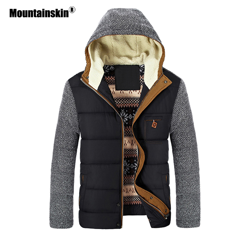 Mountainskin Winter Coat Men's Warm Parkas Thick Fleece Cotton Coats Slim Male Jackets Hooded Coat Mens Brand Clothing SA830 1
