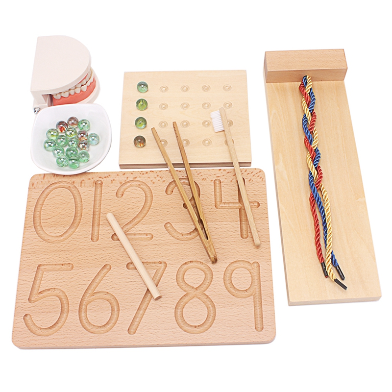 Montessori Wood Toys Baby Practical Life Simulated Brush Tooth Toys Braiding Board Egg Clip Marbles Game Toys For Children 2-4