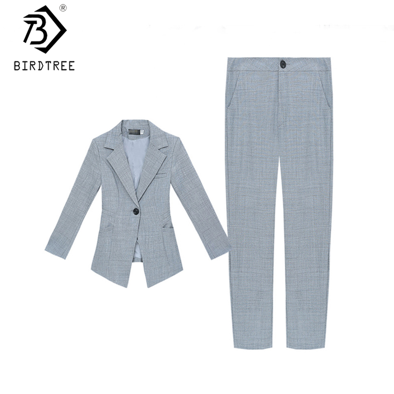 New Women's Solid Suits 2020 Spring Two Pieces Set Notched Single Button Three Quarter Sleeve Blazer Tops And Pant S02803K