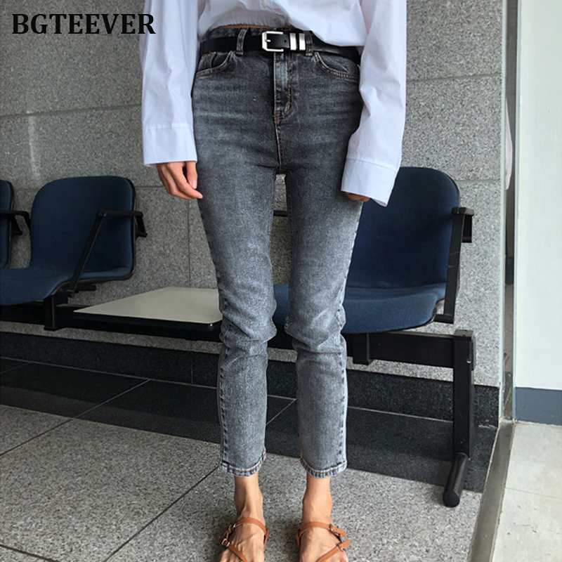 Vintage Straight Mid-waist Jeans For Women Fashion Stretch Jeans Female Denim Pants Slim Women Jeans Pants Plus Size 2019
