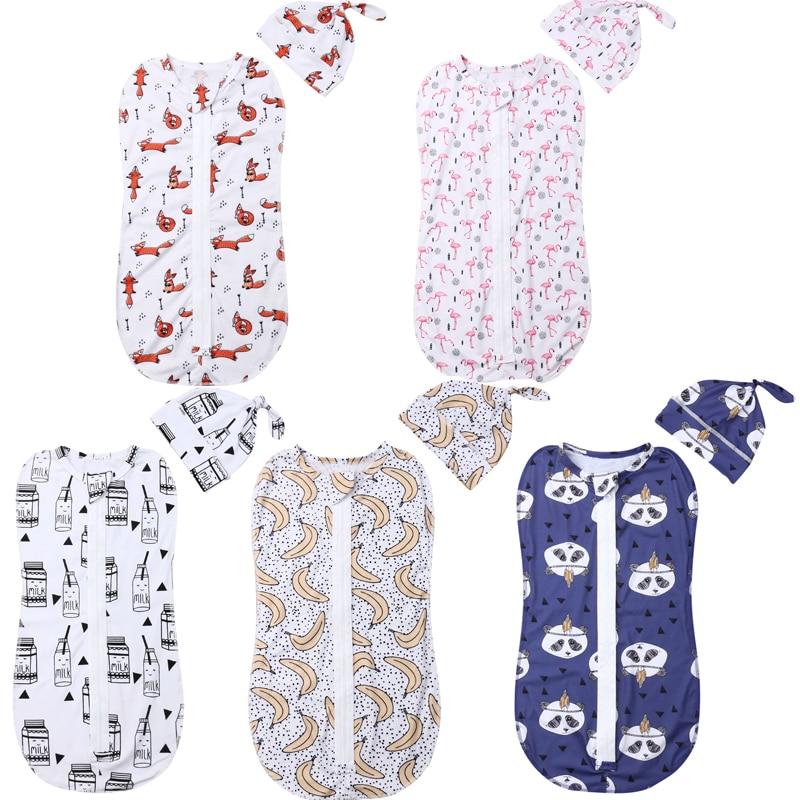 Emmababy Newborn Baby Cotton Zipper Swaddle Blanket Wrap Sleeping Bag 0-6M